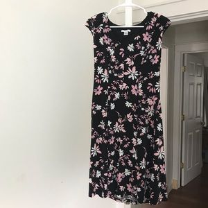 London times black dress with flowers.Size 8
